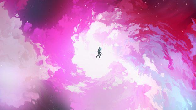 The protagonist floating in space.